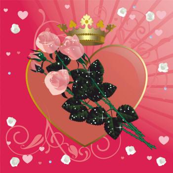 сердечко и три розы