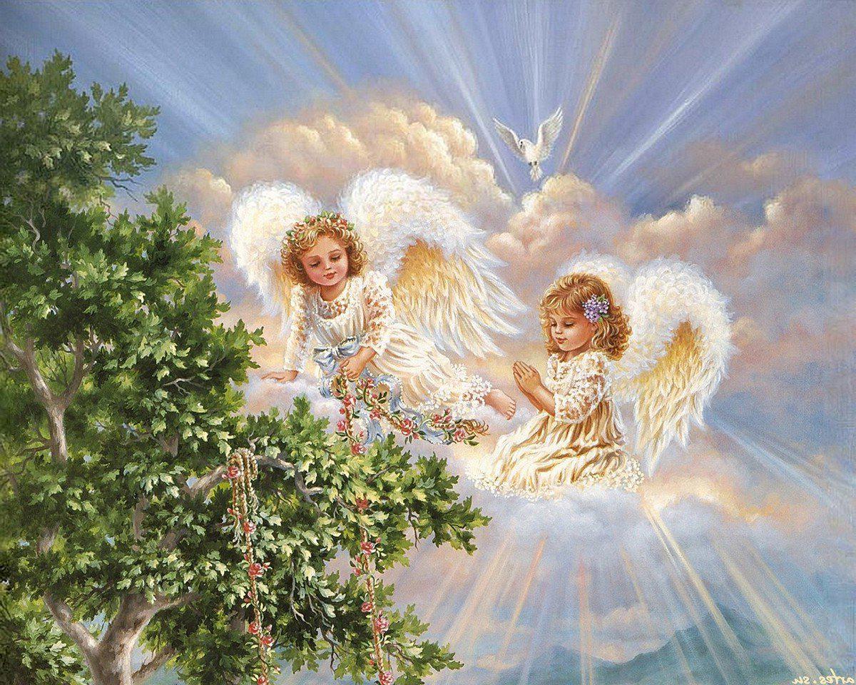 """Предпросмотр схемы вышивки  """"Триптих Ангелы хранители 1 """". Триптих Ангелы хранители 1, картина, живопись, триптих, дети..."""