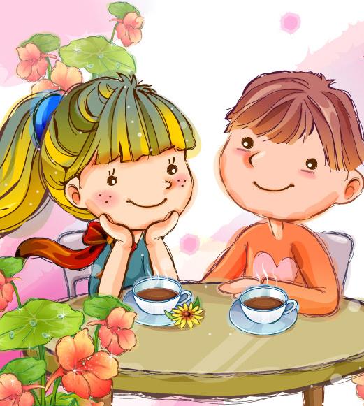 Мальчик и девочка сидя за столом пьют